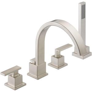 Delta 54 Inch Bathtub Delta Vero 2 Handle Deck Mount Roman Tub Faucet with Hand