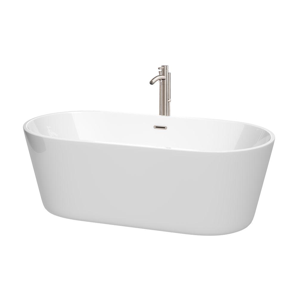 "Drain for Freestanding Bathtub 67"" Carissa Freestanding Bathtub In White with Drain and"