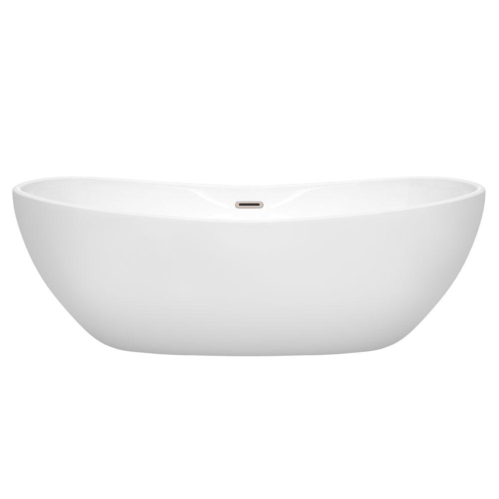 70 freestanding bathtub in white drain and overflow trim