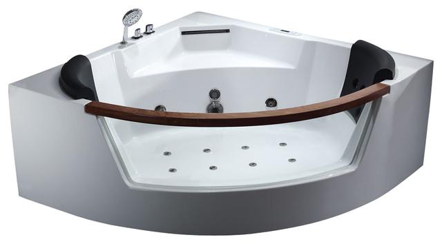 EAGO AM197 5 Rounded Clear Modern Corner Whirlpool Bath Tub with Fixtures modern bathtubs