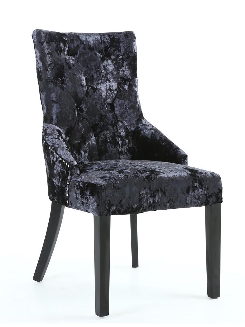 elizabeth superior black crushed velvet dining chair