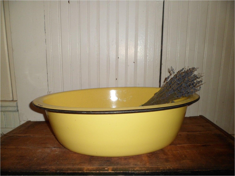 rare bright yellow enamel baby bath tub
