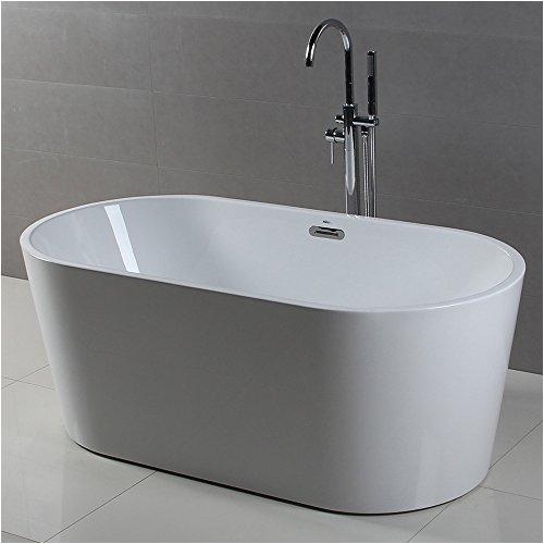 ferdy freestanding bathtub soaking bath tub stand alone tub for bathroom contemporary style high glossy acrylic white 60 gallons