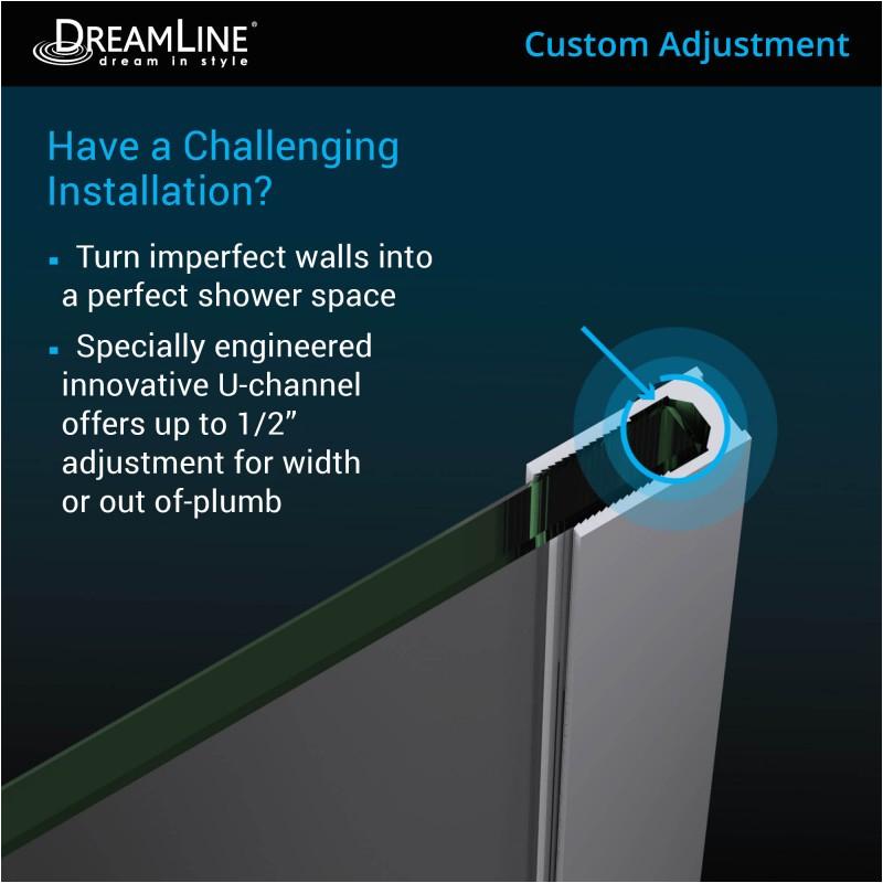 dreamline unidoor plus hinged shower door 14 to 14 1 2 in inline panel shdr 01