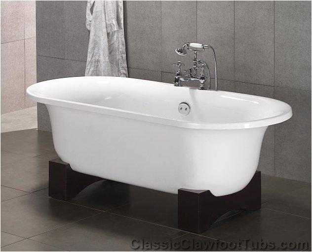 """Foot Bathtub Wood 70"""" Acrylic Double Ended Clawfoot Tub"""