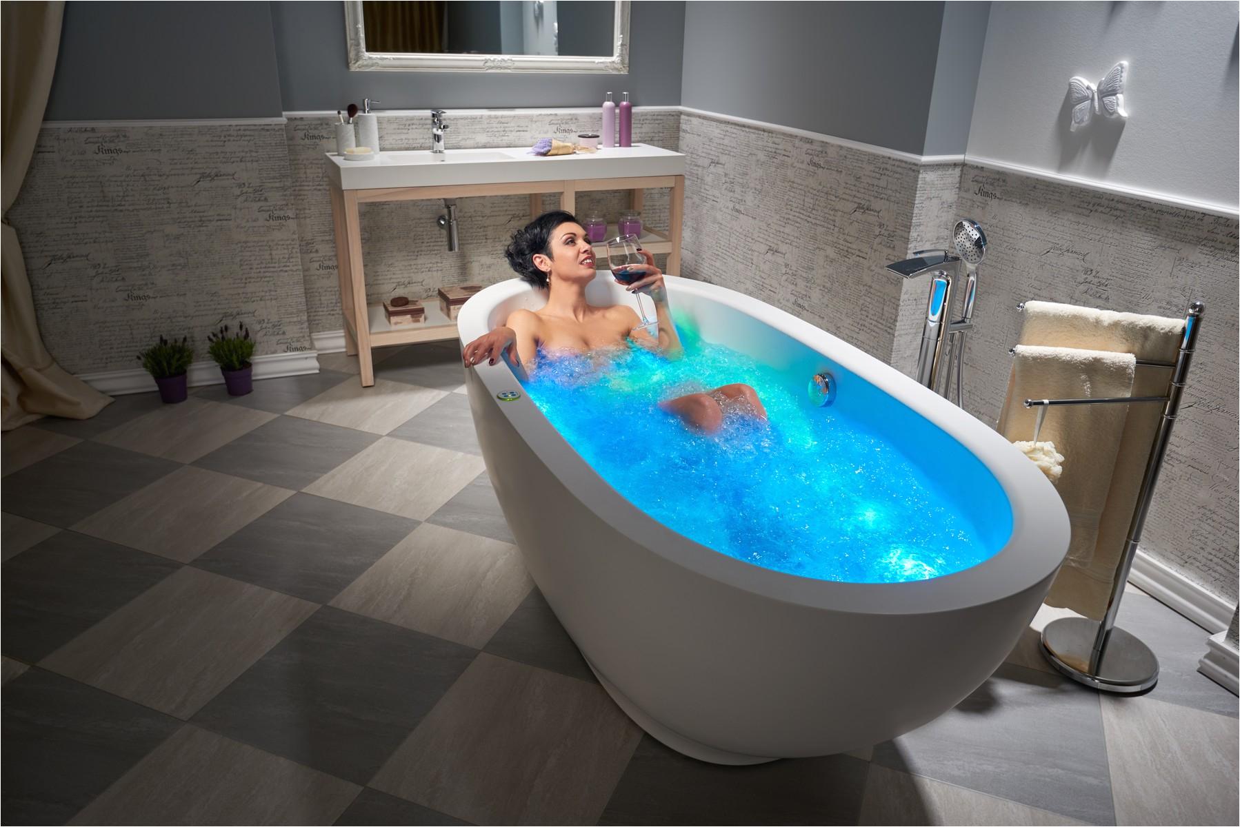 Freestanding Bathtub Air Jets Aquatica Karolina™ Relax solid Surface Air Massage Bathtub