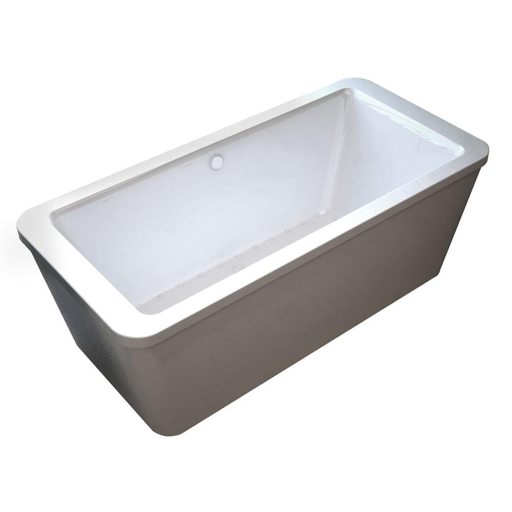 prnel 34 x 67 rectangular freestanding air jetted bathtub