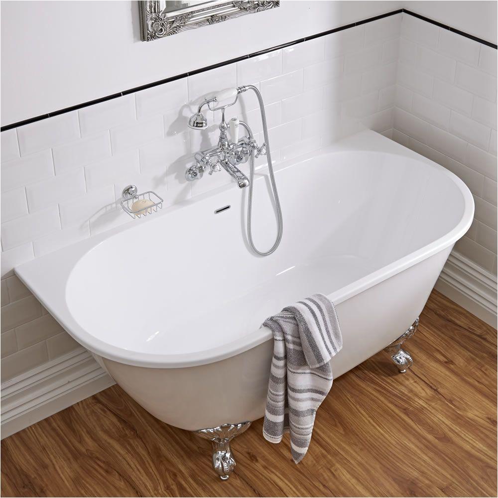 acrylic back to wall freestanding bath tub 60