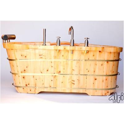 alfi brand ab1136 61 free standing cedar wood bath tub with chrome tub filler
