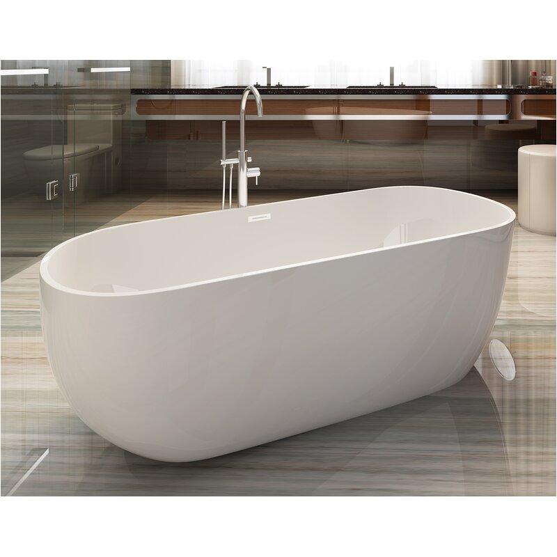 alfi brand oval acrylic 59 x 28 freestanding soaking bathtub nbt1468