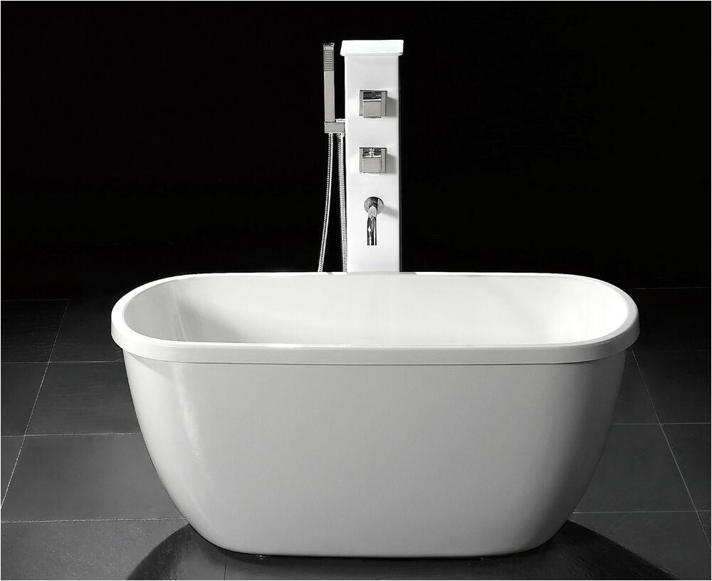 "Freestanding Bathtub Clawfoot Tub 55"" Small Acrylic Modern Free Standing Bathtub & Faucet"