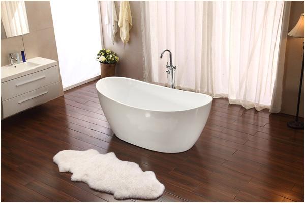 modern pedestal style soaking bathtub tub w floor standing faucet sd023d