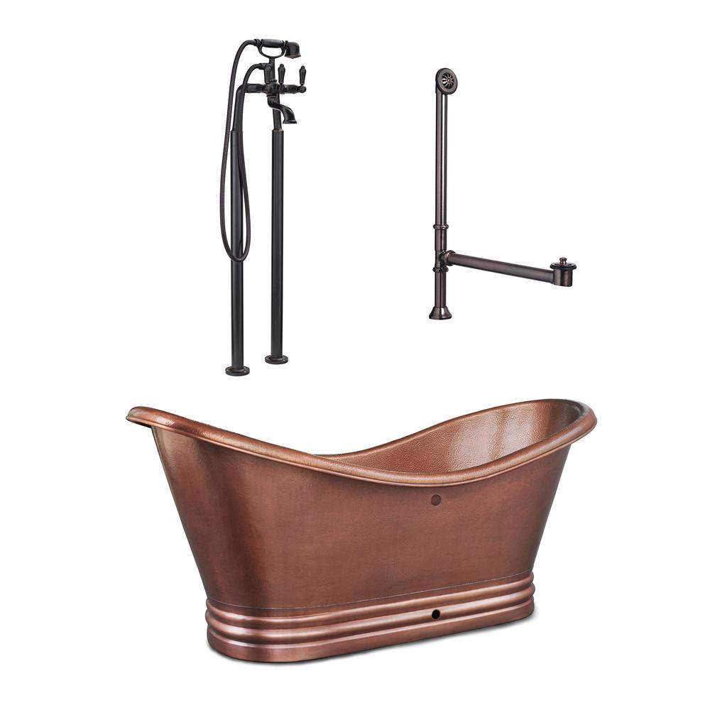 Freestanding Bathtub Copper Sinkology Euclid 6 Ft All In 1 Copper Freestanding Flat