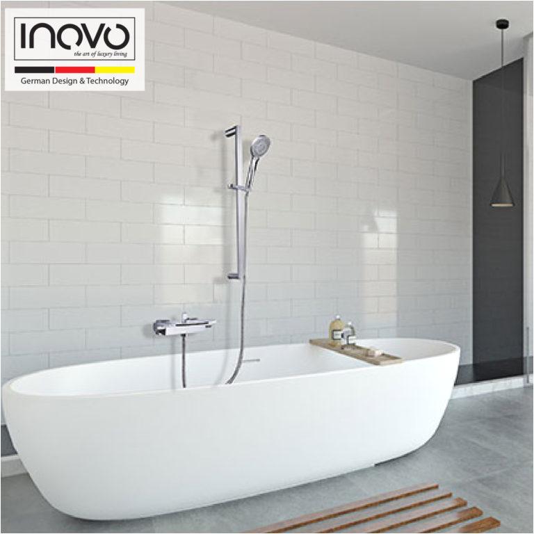 luxury vogue waterfall freestanding bathtub mixer faucet in black
