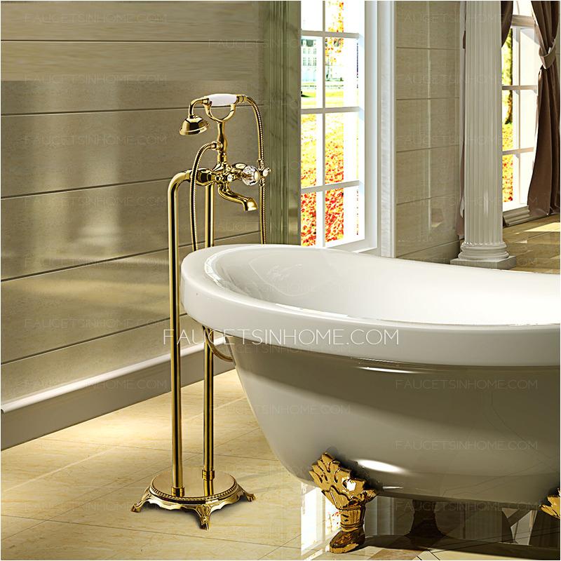 luxury golden vintage handle freestanding bahttub faucet for bathroom p 427