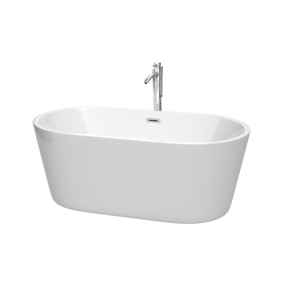 "Freestanding Bathtub Flexible Drain 60"" Carissa Freestanding Bathtub In White with Drain and"