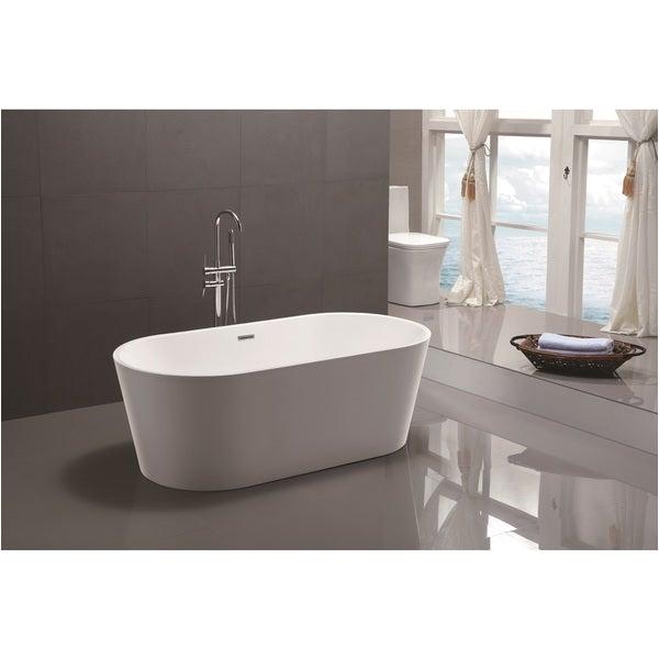 Freestanding Bathtub Garden Shop Vanity Art 59 Inch Freestanding White Acrylic soaking