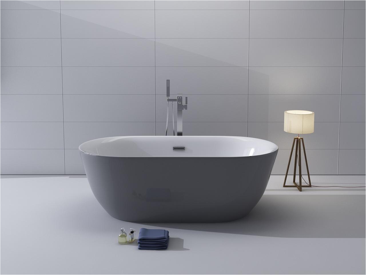 kokss freestanding modern seamless acrylic bathtub lamone gray