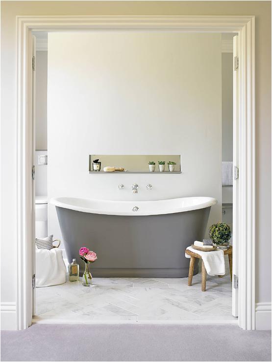 Freestanding Bathtub Grey Freestanding Gray Cast Iron Bathtub Transitional Bathroom