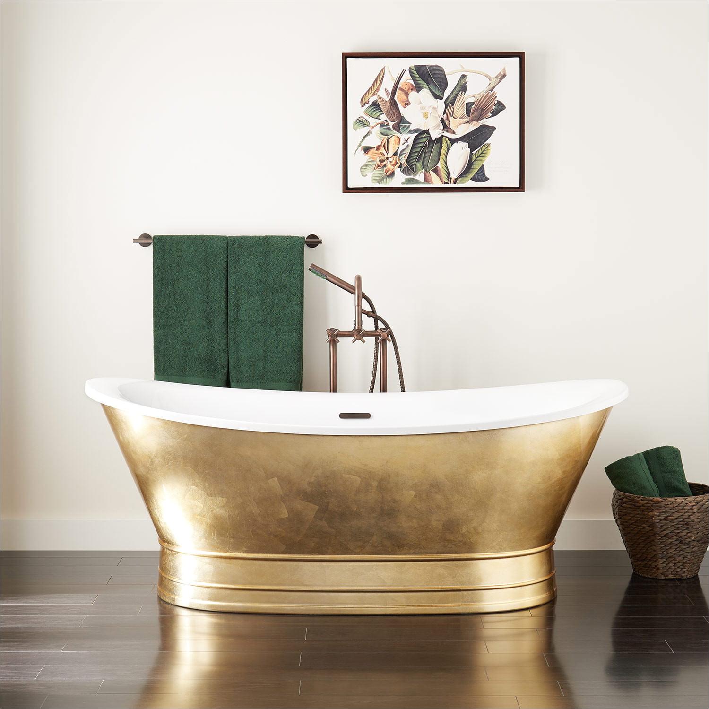 69 desborough acrylic freestanding double slipper tub gold leaf