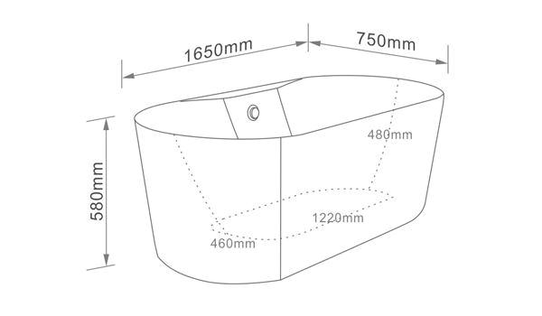 61 inch acrylic freestanding soaking tub
