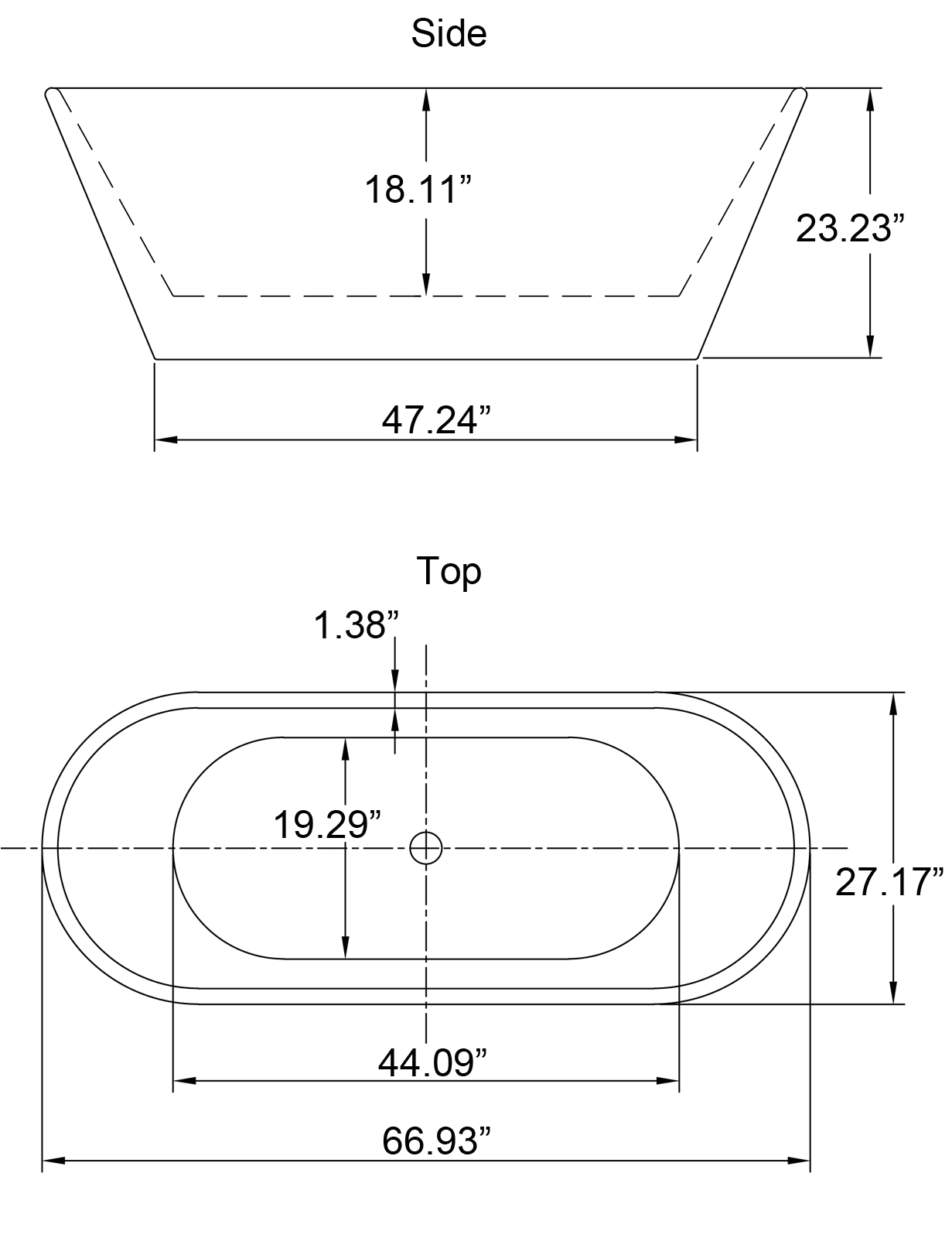 "Freestanding Bathtub Sizes 67"" Contemporary Bathroom White Acrylic Freestanding"