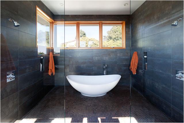 freestanding bathtub in shower room wet room waterproofing drain