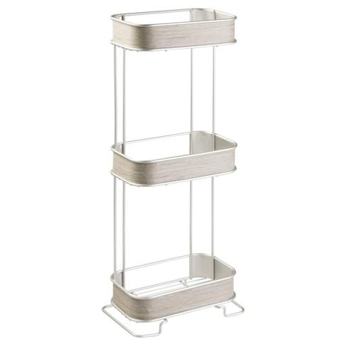 Freestanding Grey Bathroom Storage Realwood Free Standing Bathroom Storage Shelves 3 Tiers