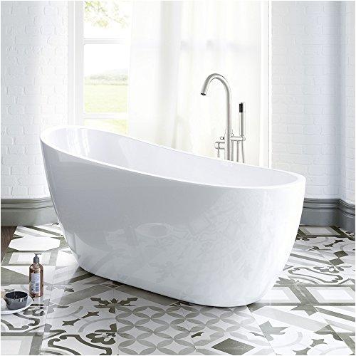 "Freestanding Tub Faucet Drillings Woodbridge B 0006 54"" Modern Acrylic Freestanding Bathtub"