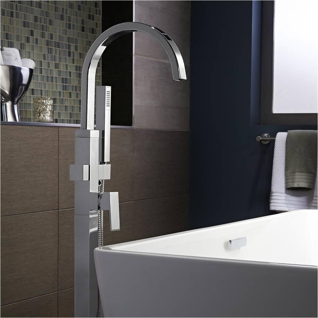contemporary square freestanding tub faucet