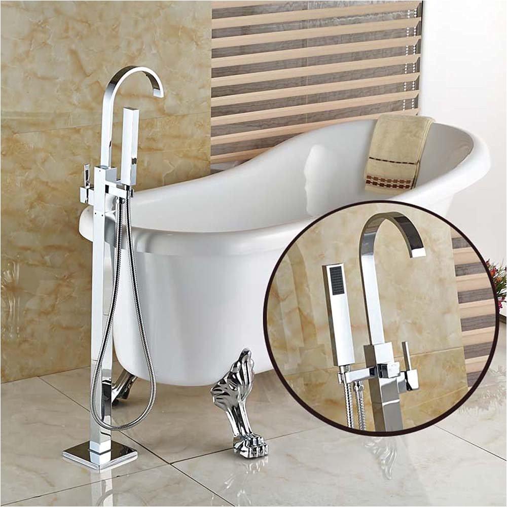 Freestanding Tub Faucet Sale On Sale Votamuta Chrome Floor Mounted Clawfoot Bath Tub