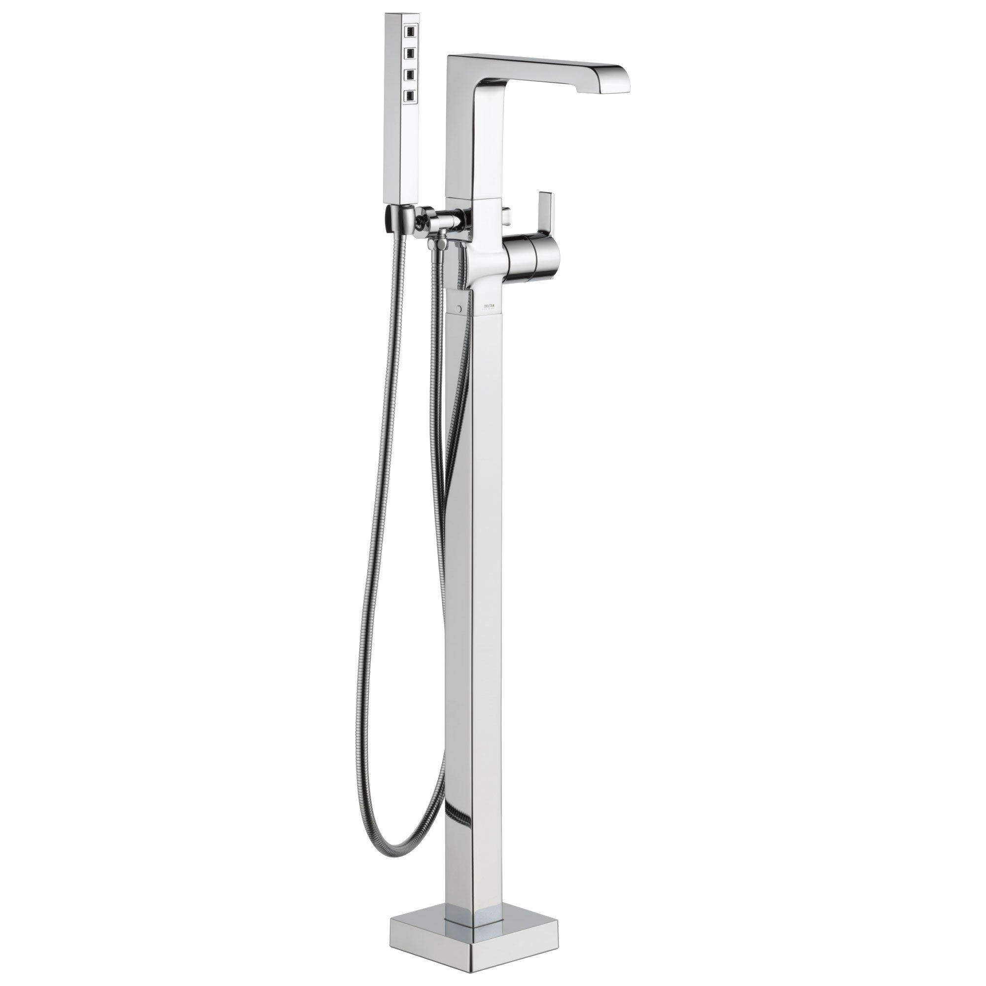 delta ara collection chrome floor mount freestanding contemporary tub filler faucet with hand shower trim kit only requires rough in valve dt4767fl