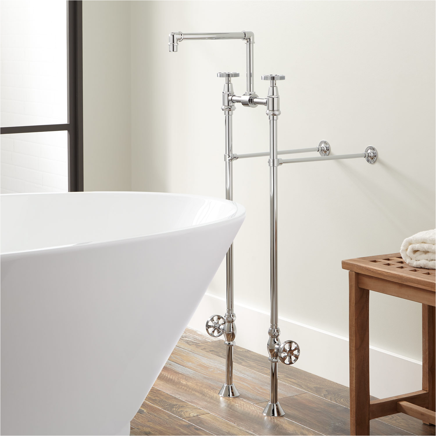 Freestanding Tub Faucets with Valve Edison Freestanding Tub Faucet with Shutoff Valves Bathroom