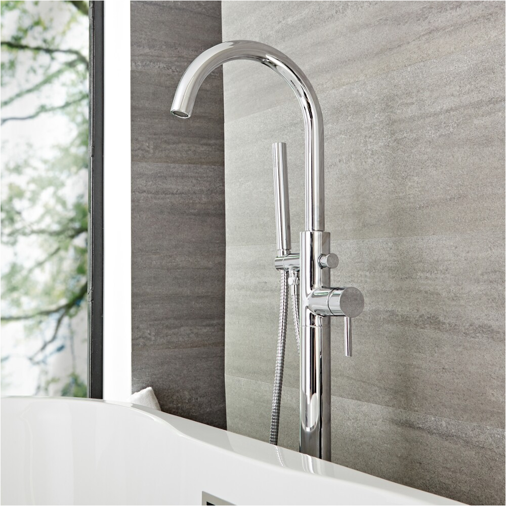 quest chrome freestanding tub faucet with hand shower