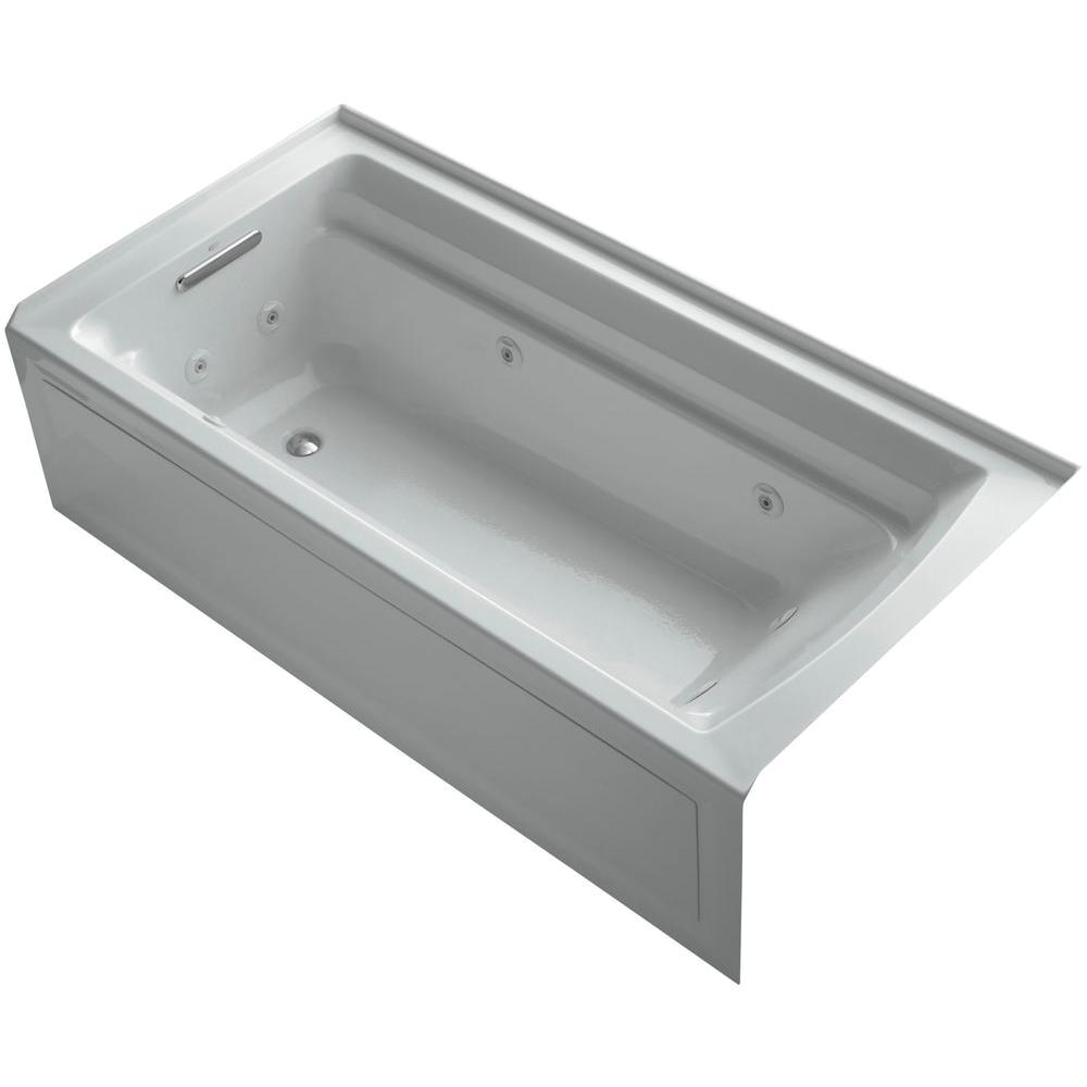 Grey Whirlpool Bathtub Kohler Archer 6 Ft Acrylic Left Drain Rectangular Alcove