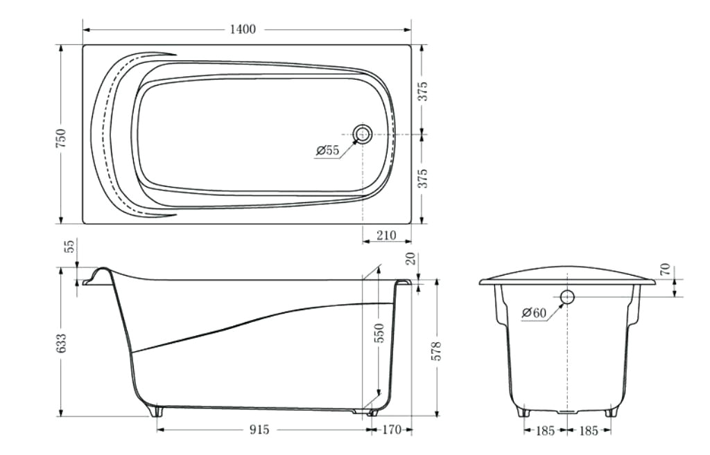 standard bath length