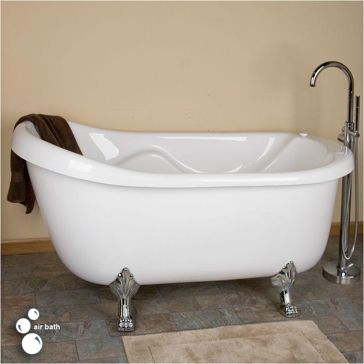 """Jetted Clawfoot Bathtub 67"""" Anelle Acrylic Clawfoot Slipper Whirlpool Bath Tub"""