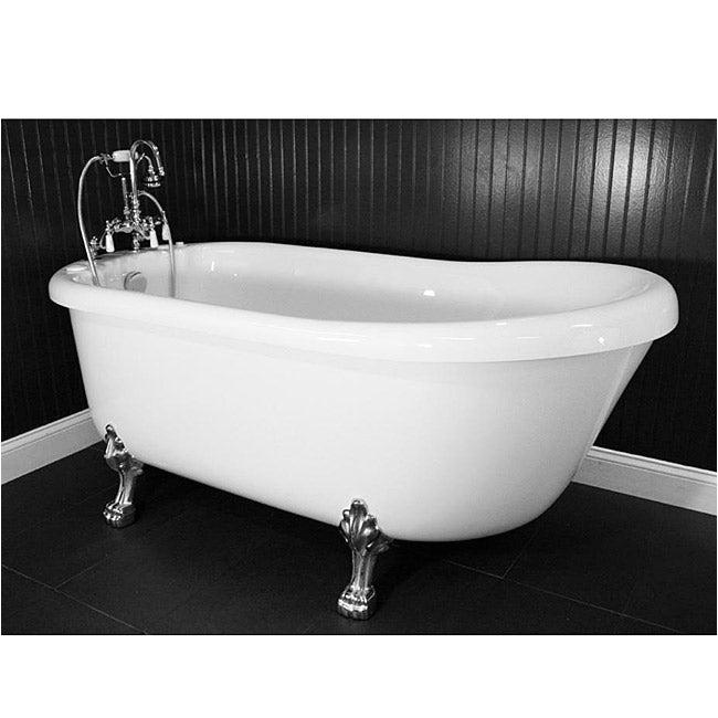 Jetted Clawfoot Bathtub Spa Collection 67 Inch Air Massage Slipper Clawfoot Tub