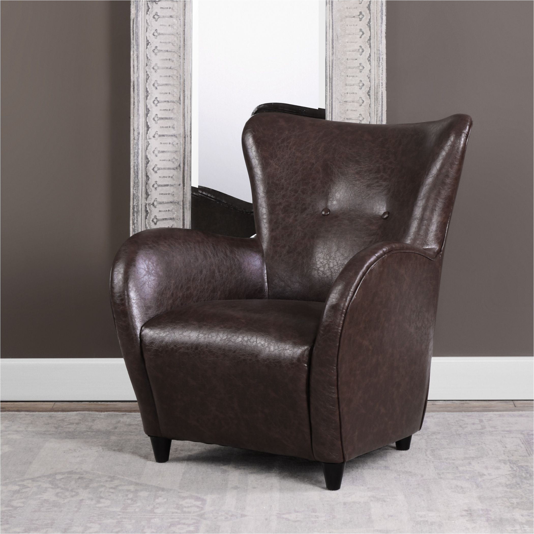 lyric brown leather accent chair
