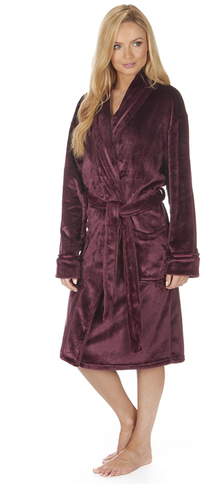 Ladies Bathrobes Plus Size Luxury Womens Plus Size Flannel Fleece Dressing Gown Full