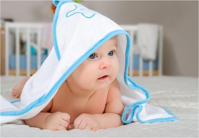 stock photos cute baby boy hooded towel bath little image