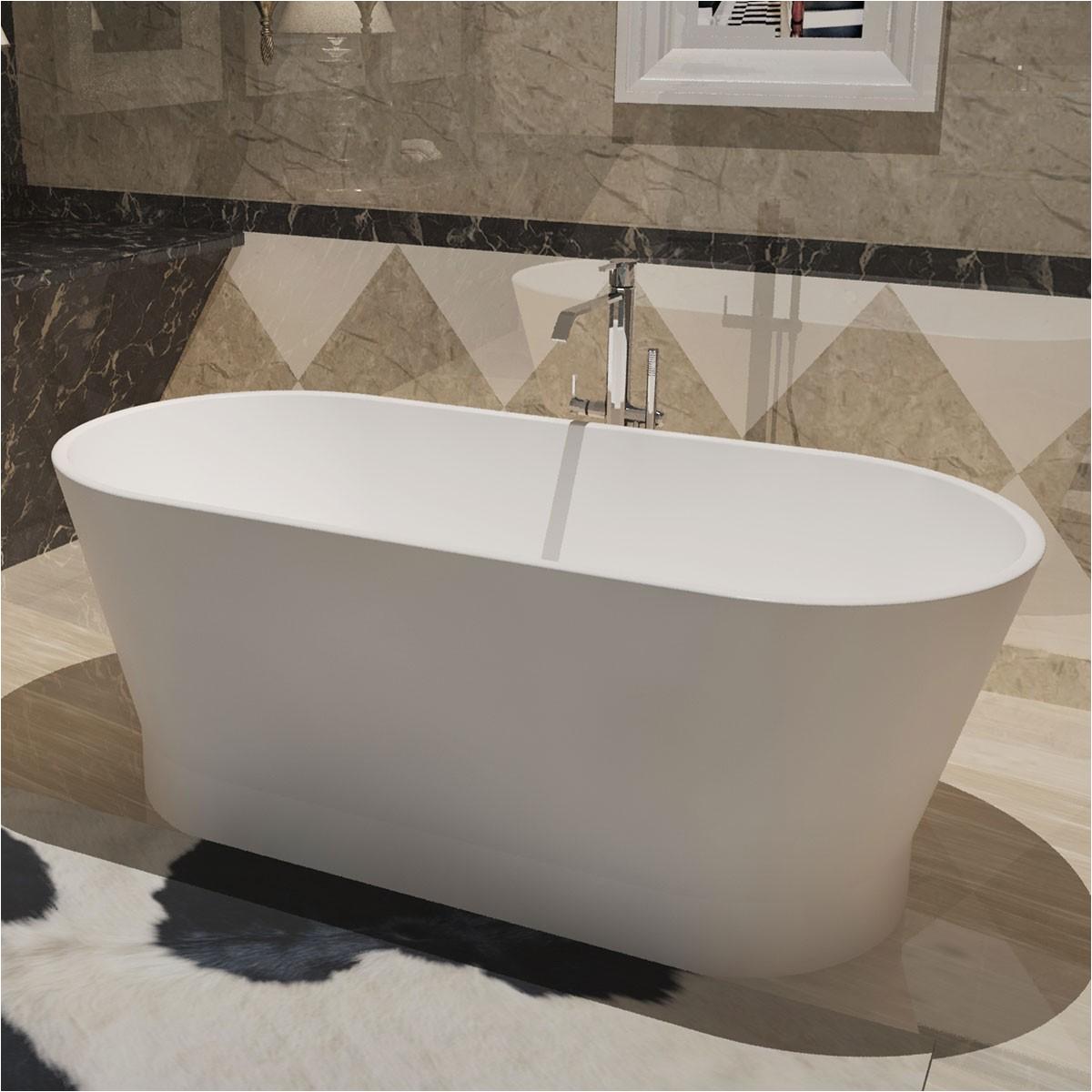 Matte White Freestanding Bathtub 59 In Oval Man Made Stone Freestanding Bathtub Matte