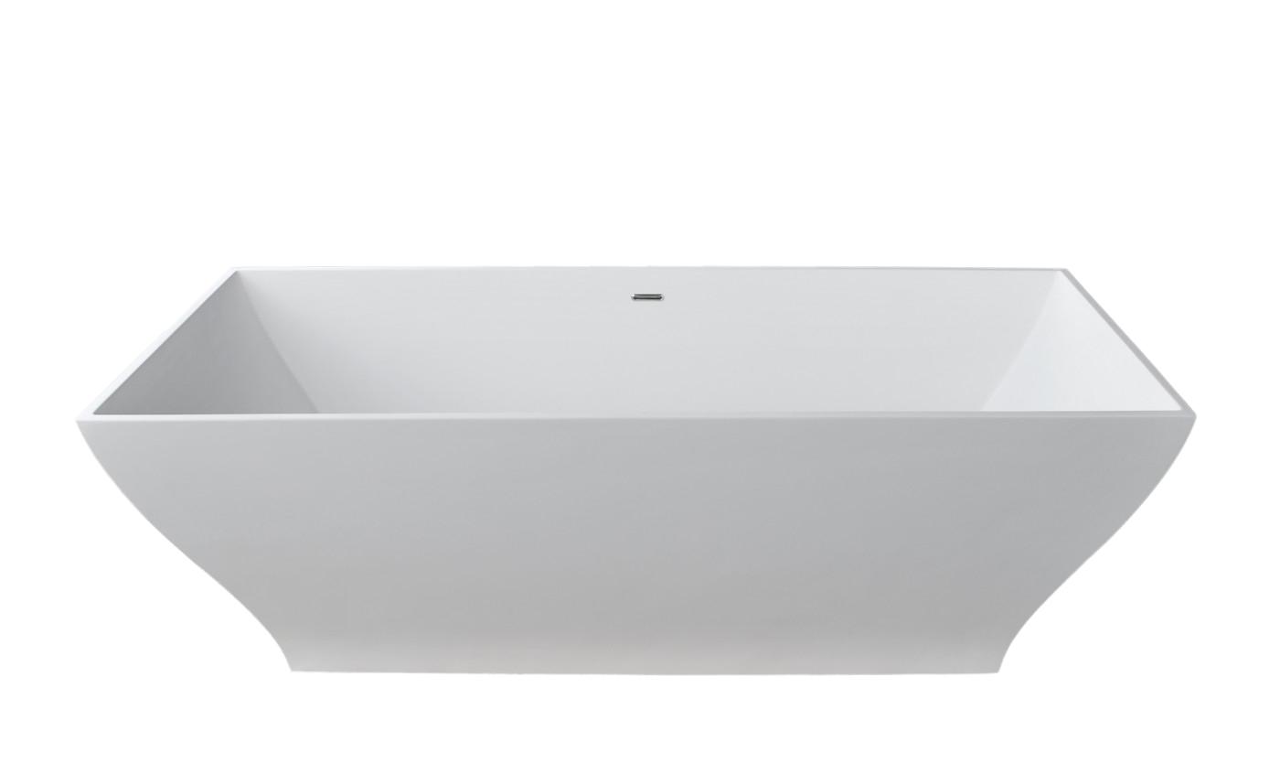 crema 5 9 ft man made stone center drain freestanding bathtub in matte white