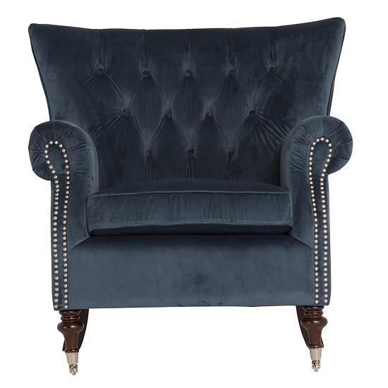 Midnight Blue Accent Chair Elmore Modern Accent Chair In Blue Velvet Midnight