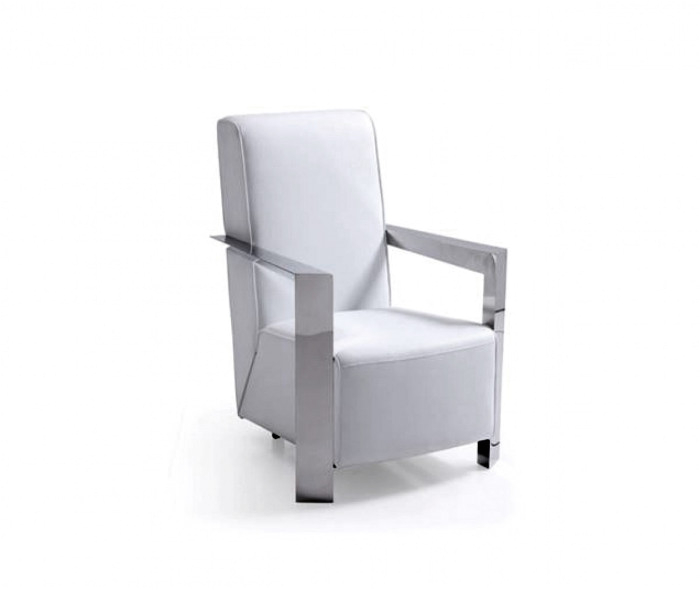Modena Modern White Leather Accent Chair Modrest Niro Modern White Bonded Leather Accent Chair
