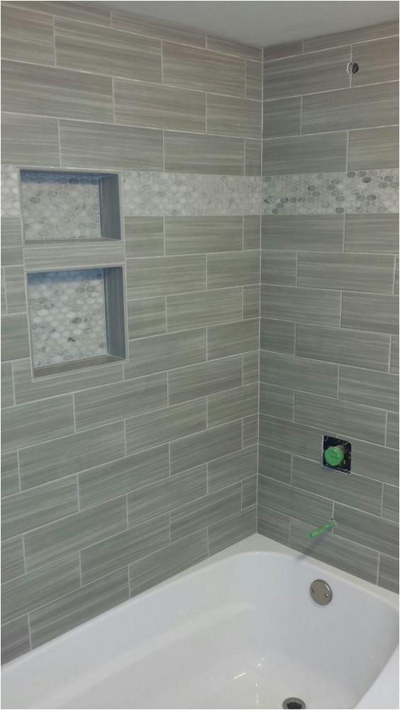 Mosaic Tile Bathtub Surround Ideas Bathroom Shower Niche Mosaic Border Linear Tile Subway