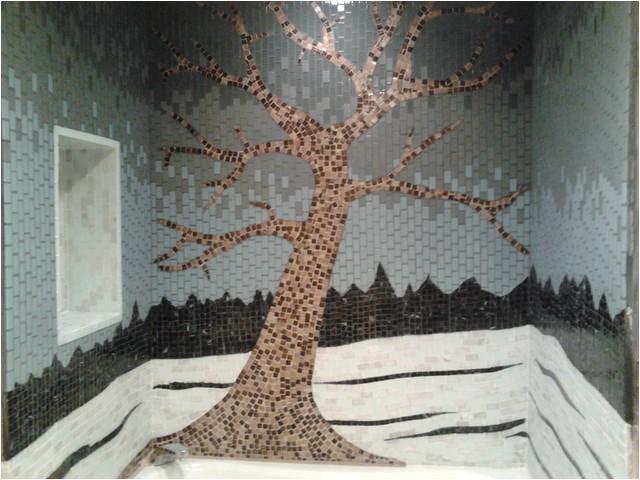 Glass tile mosaic tree shower surround contemporary bathroom philadelphia