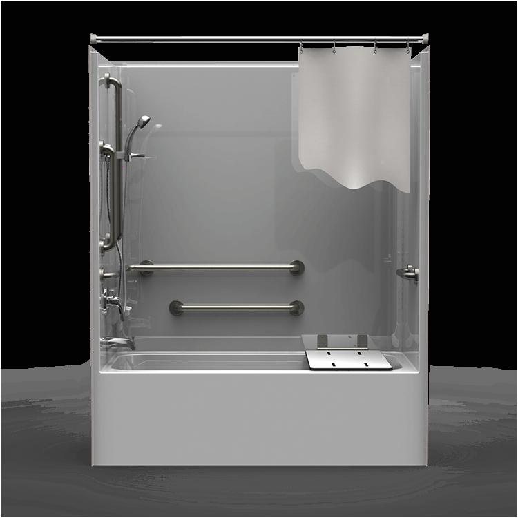 ada tub shower one piece 60x32 smooth wall look