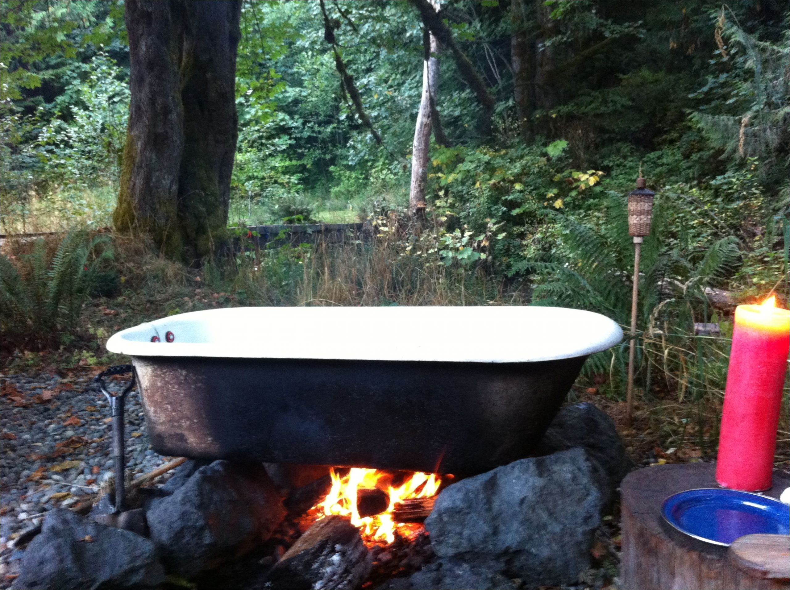 Outdoor Bathtub Tulum Cast Iron Tub Heated by Fire Used for Glamping Olympic