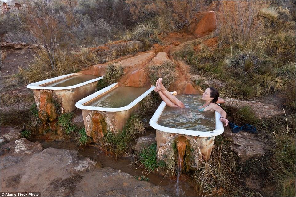 Would dip bathtub Natural hot springs converted tourists enjoy soak watching sunset Utah desert